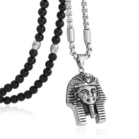 BLEUM CADE Stainless Steel King Tut Pendant Necklace with Black Natural Agate Stone Chain 26