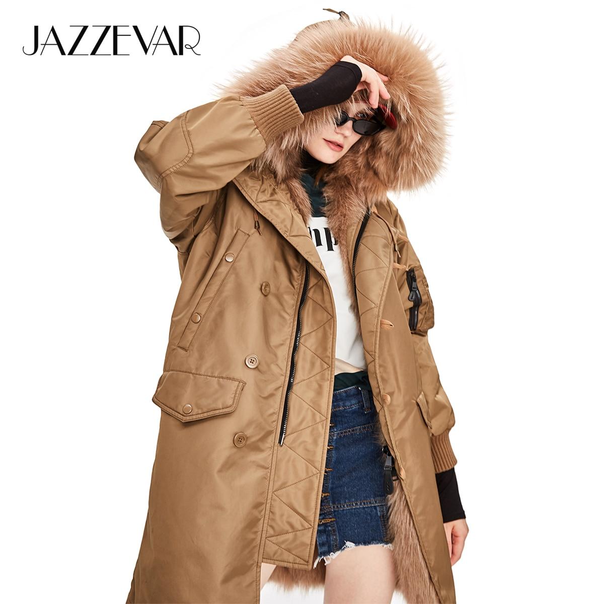 JAZZEVAR 2018 New Winter High Fashion Safari Style Women Luxurious Fur Military Parka Thick Fox lining Ladies Hooded Coat|Real Fur|   - AliExpress