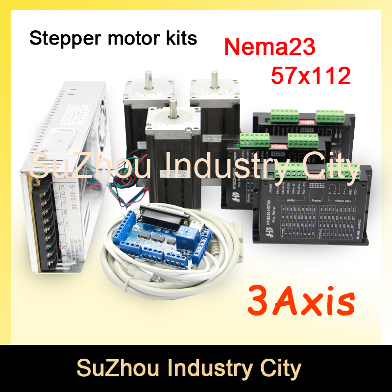 3Axis CNC stepper motor controller kits name23 stepping motor +Driver 42VDC 4A+Power supply switch 400w 36v+5axis breakout board 3axis cnc controller kit 3pcs nema23 cnc stepper motor 57x76mm stepping motor driver 4a 42v power supply breakout board