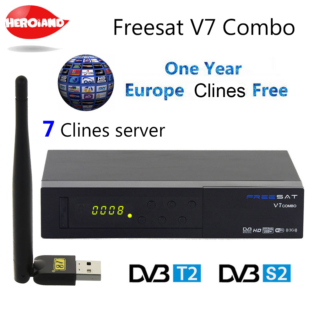 Freesat V7 DVB Combo Receptor DVB-S2 DVB-T2 Satellite Terrestrial Decoder 1 Year Europe Italy Albanian C-line 7 Clines &USB WIFI de it es channels dvb s s2 satellite fta lines 1 year cccam clines newcamd usb wifi satellite tv receiver for free shipping