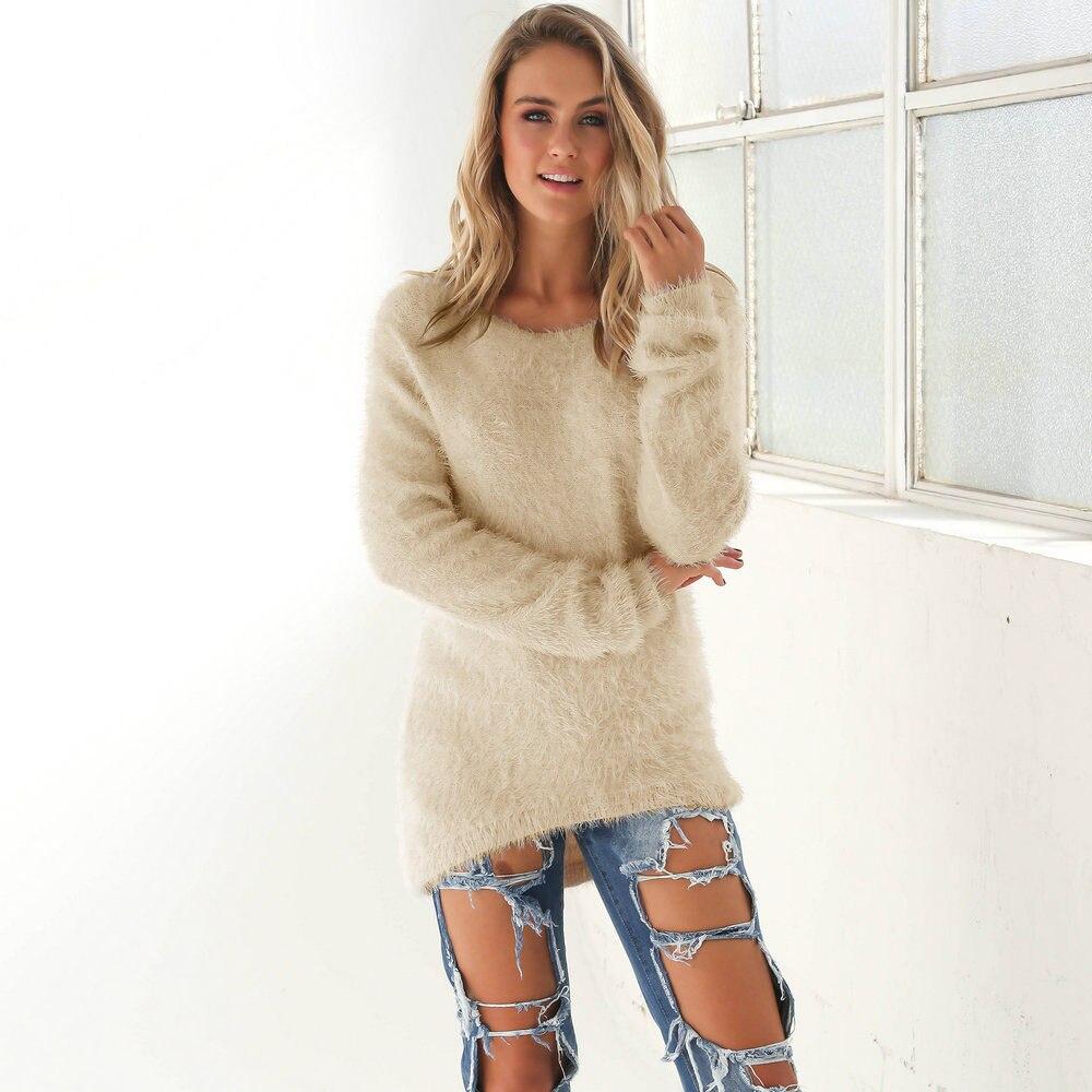 Fuzzy Women Khaki Long Sweater 2018 Autumn Solid Casual Loose Sweater Mini Dress Oversized Pullovers Jumper Pull Femme