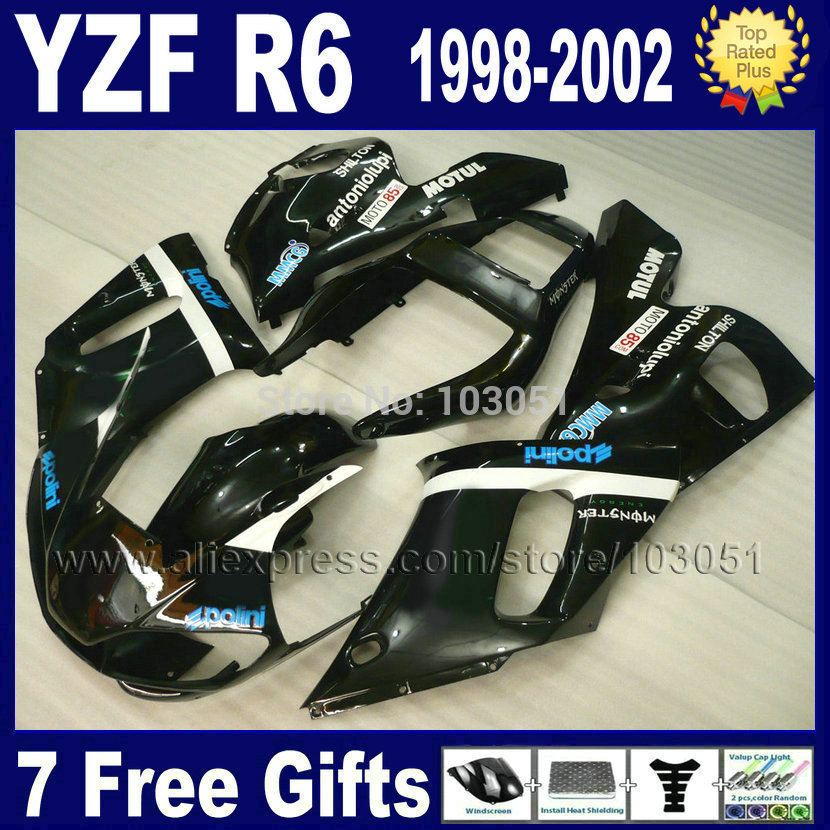 Custom Moto full fairings for YAMAHA YZFR6 1998 1999 2001 2002 black motul  YZF R6 98 99 01 02 YZF600 Fairing aftermarket parts