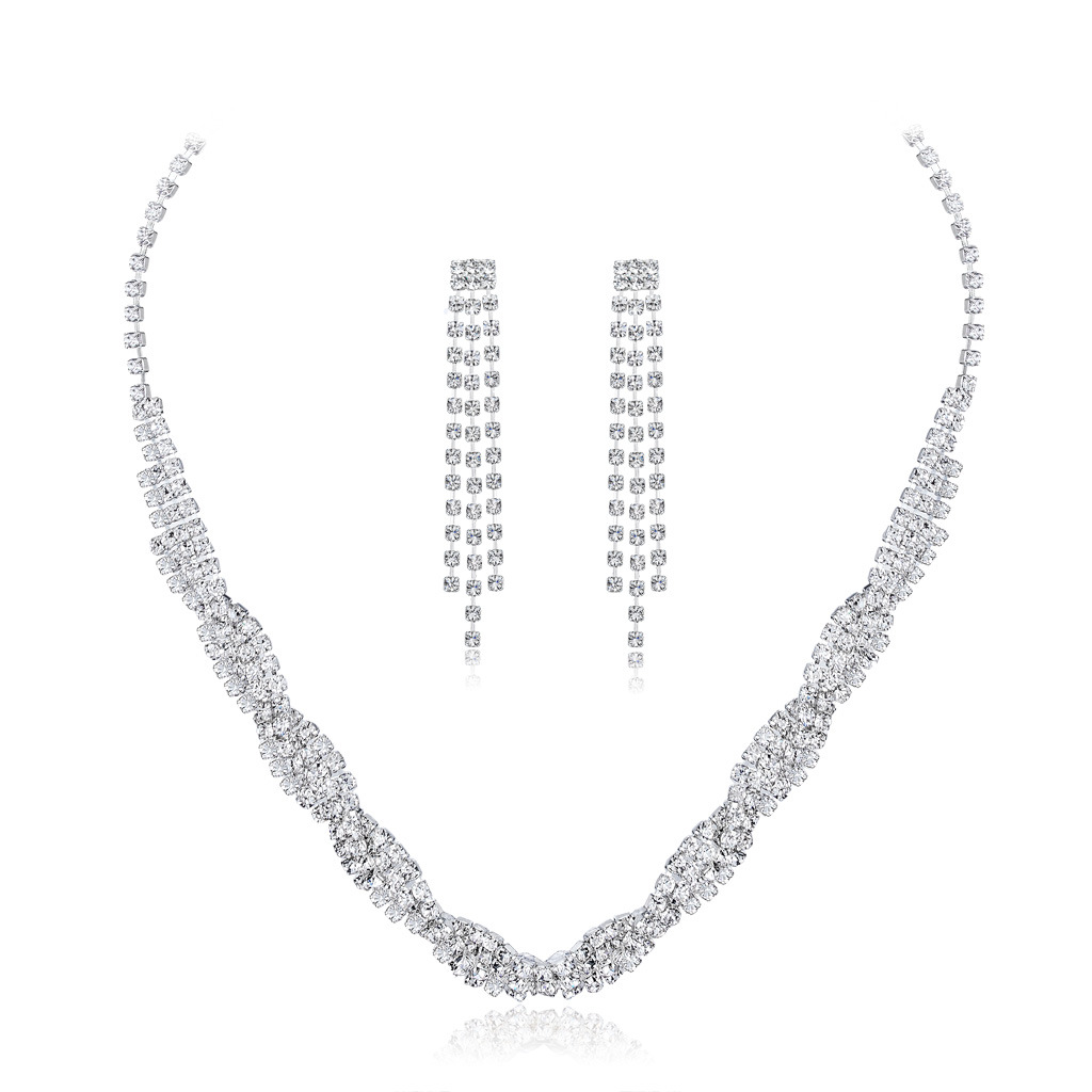 European and American popular bride suit necklace, two sets of fashionable wedding dress dinner jewelry(China)