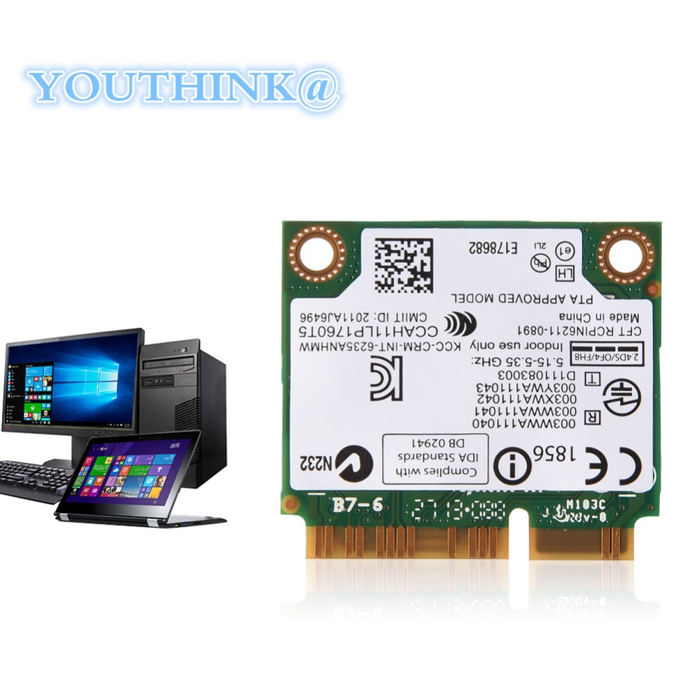 Bluetooth WIFI Card for Intel 300 Mbps 2.4/ 5G Dual-Band Laptop Mini WIFI Card PCI-E WIFI Card for Intel 945/ 965/ GM45/ PM45