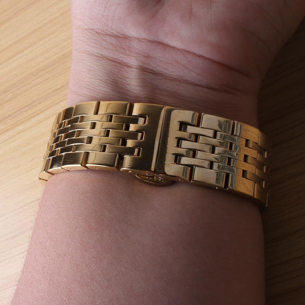 Briljant 2017 Hoge Kwaliteit 17mm 18mm 19mm 20mm 21mm Horlogebanden Goud Rvs Horlogeband Band Armband Met Drukknop Verborgen Sluiting