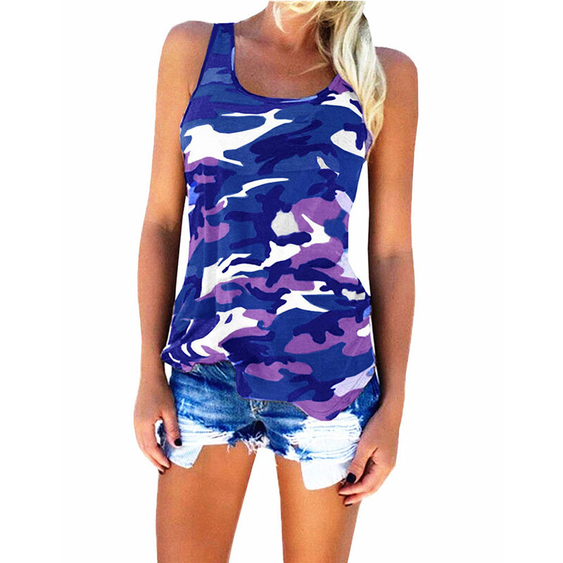 Womens Camouflage Hunting Vests Casual T Shirt Summer Camo Cami Sleeveless Tanks Top Vest Short  Running Fitness Yoga Clothes (16)