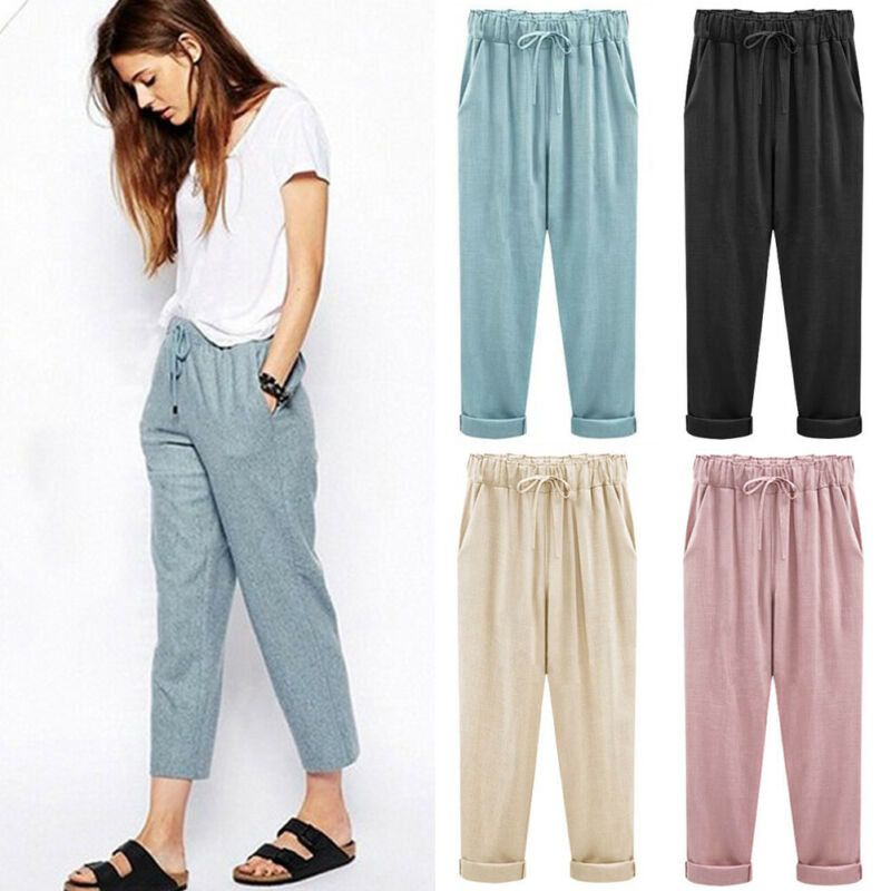 New Fashion Women Casual Pants Lace Up High Waist Female Harem Pants Trousers Autumn Pants