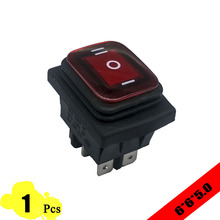 1pcs 39*29mm Red LED KCD4 6PIN Snap-in ON/OFF/ON Position Boat Rocker Switch 16A/250V Copper Feet Waterproof DPDT