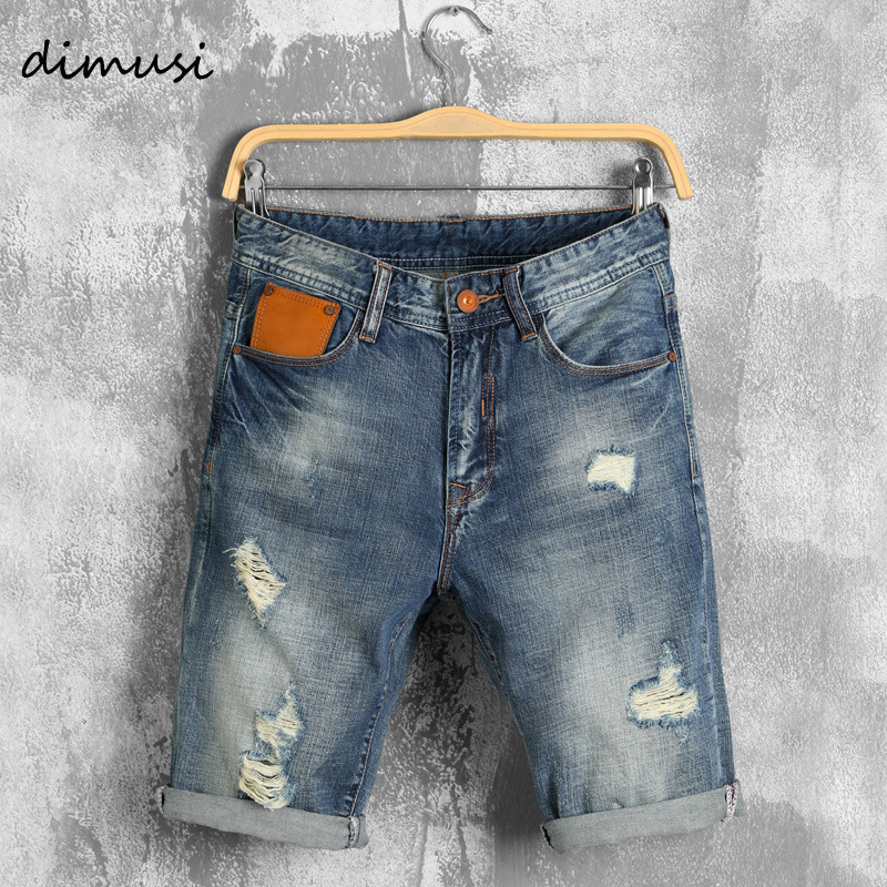 DIMUSI Mens Denim Shorts New Summer Regular Casual Knee Length Short Bermuda Masculina Hole Rippe Jeans Shorts 38 40 YA620
