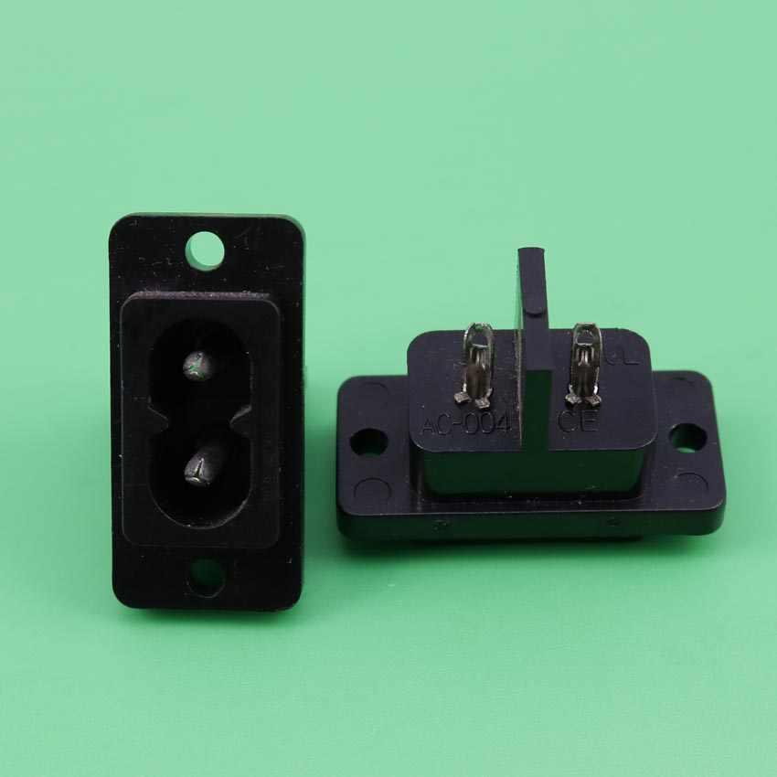 YuXi 1 Pcs Đen 2 Pins IEC320 C8 AC Ổ Cắm Điện Nối AC 250 V 6A