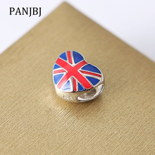 18fae96f5 New 100% 925 Sterling Silver Bead Charm Great Britain UK Flag Heart Beads  Enamel Charms