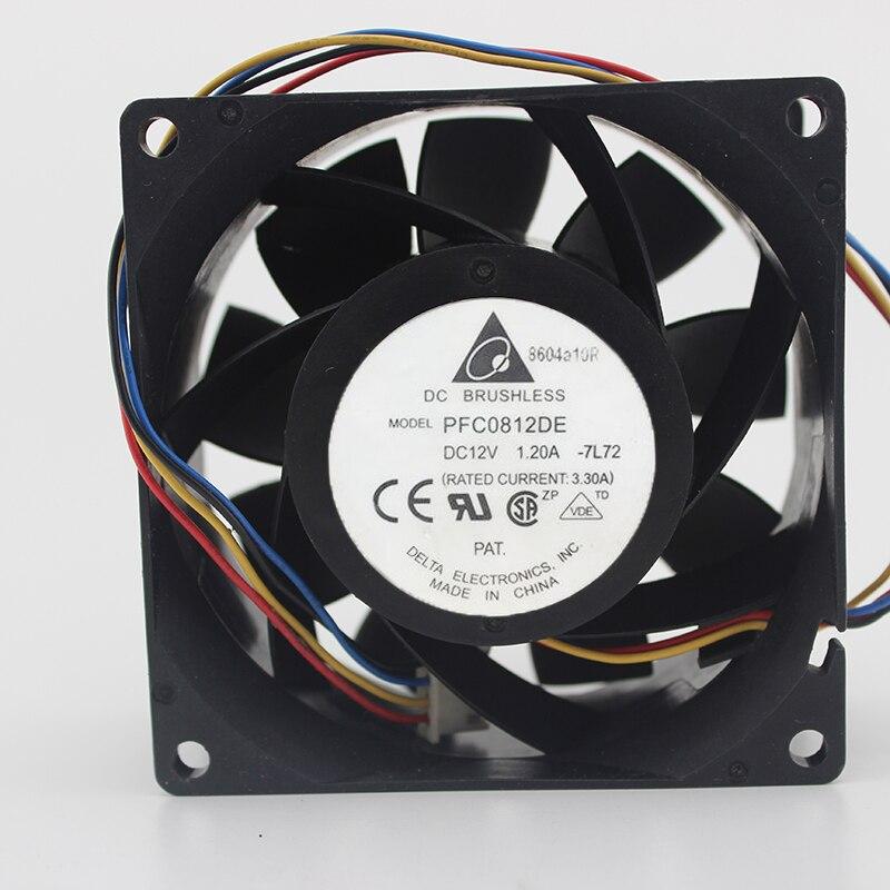 Delta Electronics PFC0812DE -7L12 Server Square Fan DC 12V 3.30A 80x80x38mm 4-wire