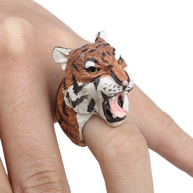 YYW animal Wedding bend ring funny lady trency women 3D animal ring Hedgehog Ring Panda Dog Rings women Tiger Lizard Bear Parrot