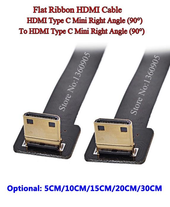 5CM/10CM/15CM/20CM/30CM Ultra Thin Flat Ribbon Cable Mini HDMI Right Angle 90 Degree Male To Male Right Angle 90 Degree Ribbon