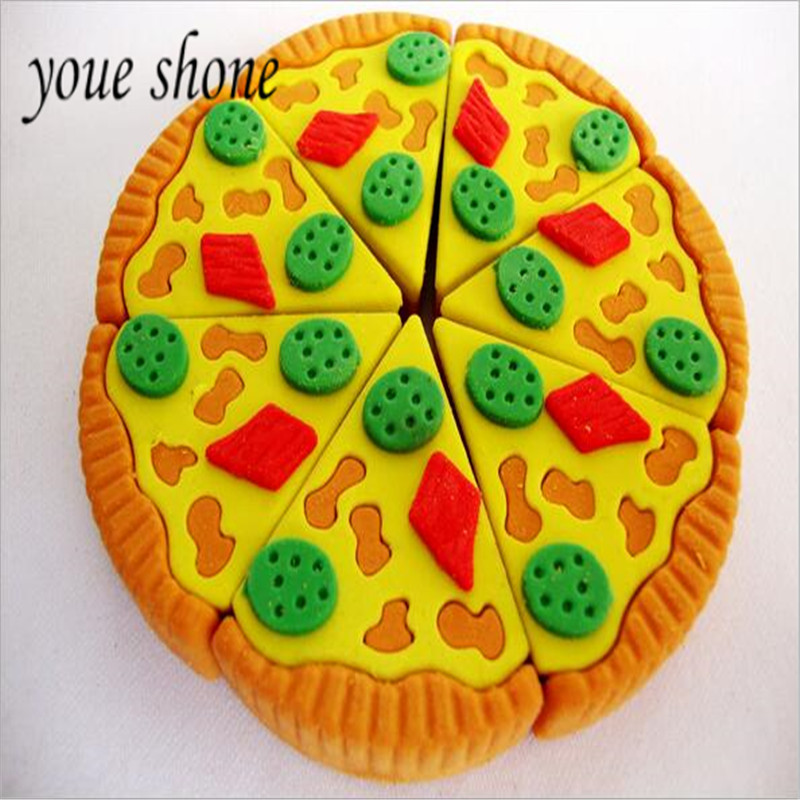 Youe Shone 3D Pizza Food Eraser Rubber DIY Simulation Assembly Cake Styling Eraser Novelty Funny Learning Stationery For Student