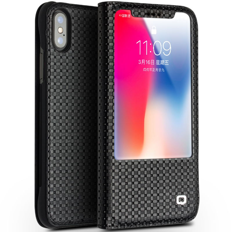 QIALINO Genuine Leather Phone Case for iPhone X Business Style Pure Handmade Luxury Window Flip Cover for iPhone X for 5.8 inch