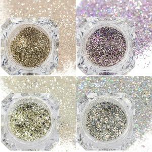 Image 5 - 1 boîte holographique platine Nail Art paillettes mélange flocons paillettes scintillantes manucure poussière Laser argent or poudre Gel décoration TRBG