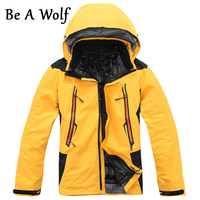 Be A Wolf Hiking Jackets Men 2 In 1 Softshell Fleece Warm Outdoor Jacket Skiing Camping