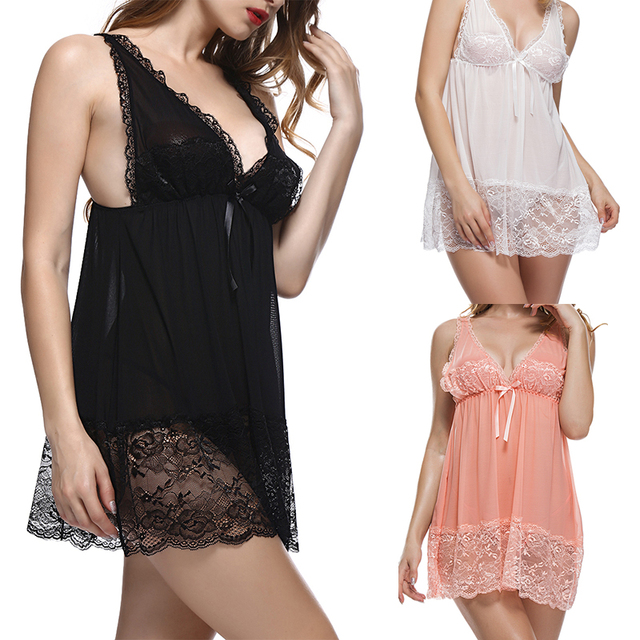 52534804850 Women V-neck Lace Babydoll Mesh Chemise Sleepwear Sexy Open Back Lingerie  deep V splicing black fungus, white bud silk dress