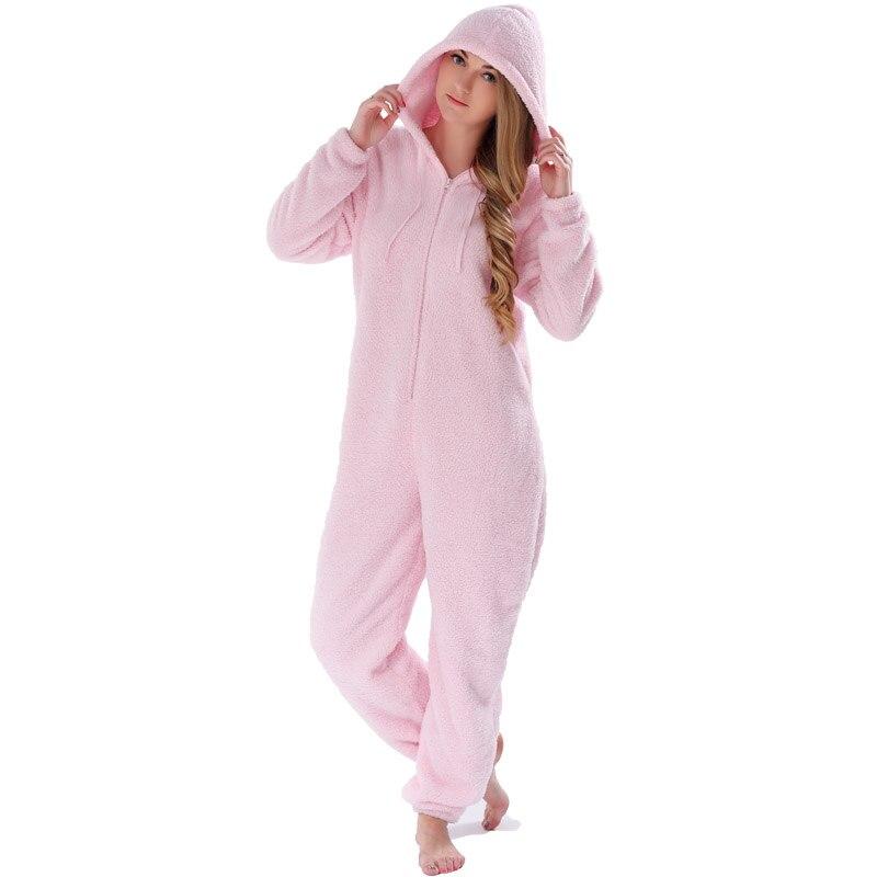 Adults Plus Size Onesie Pink Rose Red Pajama Sets Girls Autumn Winter Fleece Warm Hooded Onesie Sleepwear For Women Teenagers 5