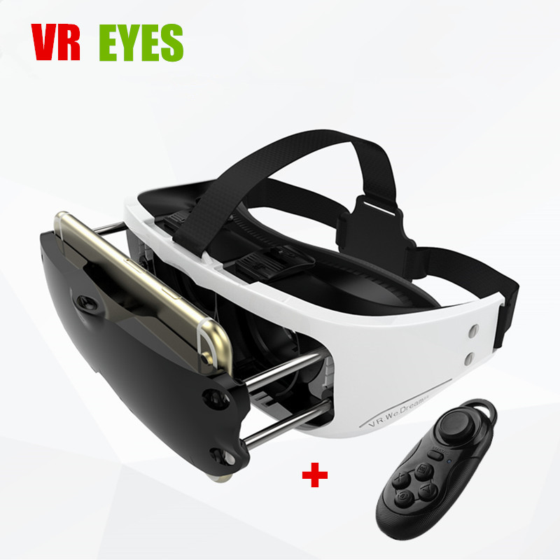 <font><b>2016</b></font> <font><b>VR</b></font> Headset <font><b>Virtual</b></font> <font><b>Reality</b></font> <font><b>Glasses</b></font> <font><b>Helmet</b></font> 3D Goggles Mobile 3 D Cinema for 4.5-5.5 Smartphone+Wirless Bluetooth Controller