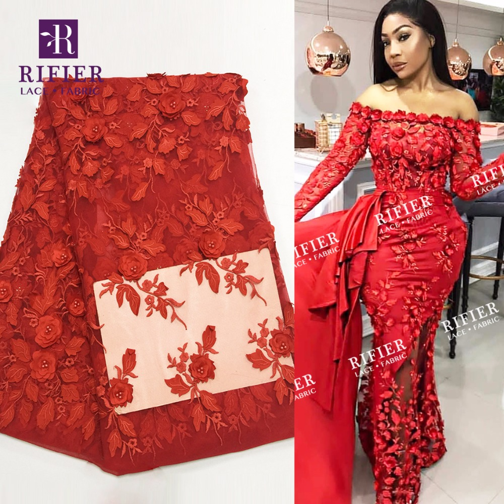 Detail Feedback Questions about 3D Flower Applique African Lace Fabric With  Beads Indian Red Color Wedding Material New Nigeria Applique Beaded  Embroidered ... e9d1bfc6d8aa