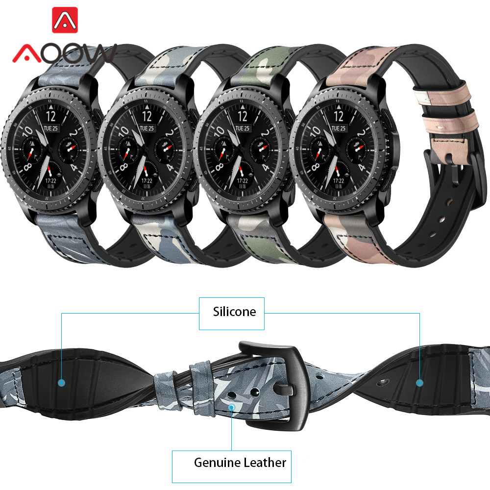 22mm Silicone Watchband for Samsung Gear S3 Classic Frontier Genuine Leather Camo Printed Cover Soft Rubber Watch Band Strap silicone sport watchband for gear s3 classic frontier 22mm strap for samsung galaxy watch 46mm band replacement strap bracelet