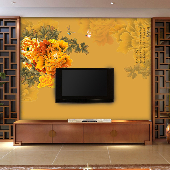 Yiping Living Room TV Background Wallpaper Nonwoven HD 3D Stereoscopic Large Hand Painted Mural
