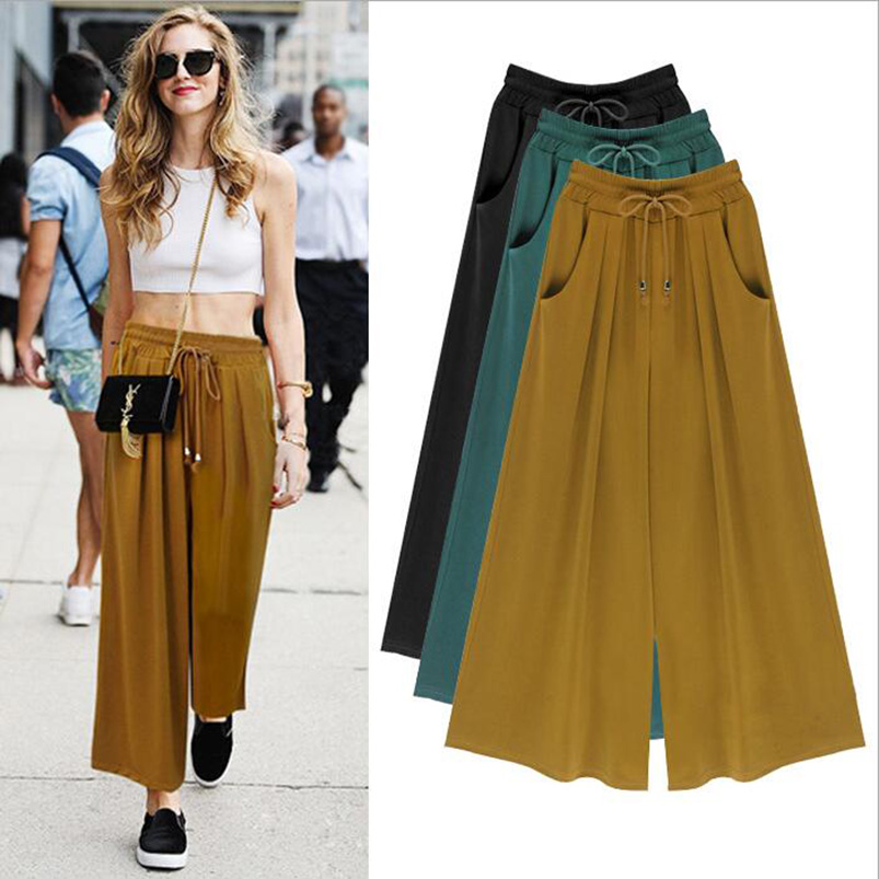 M-6XL Plus Size 2017 New Casual Women Solid Ankle Length Mid Elastic Waist Pleated Drawstring Loose Wide Leg Pants Casual Capris