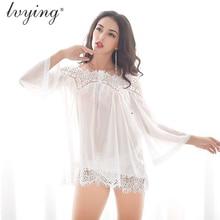 Women Sleepwear Plus Size Pyjamas Sexy Lace Nightgown Transparents Night Dress Silk Lingerie Nightwear gown Nighty