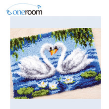 ZD19 The Two Swans Hook Rug Kit DIY Unfinished Crocheting Yarn Mat Latch Hook Rug Kit Floor(China)
