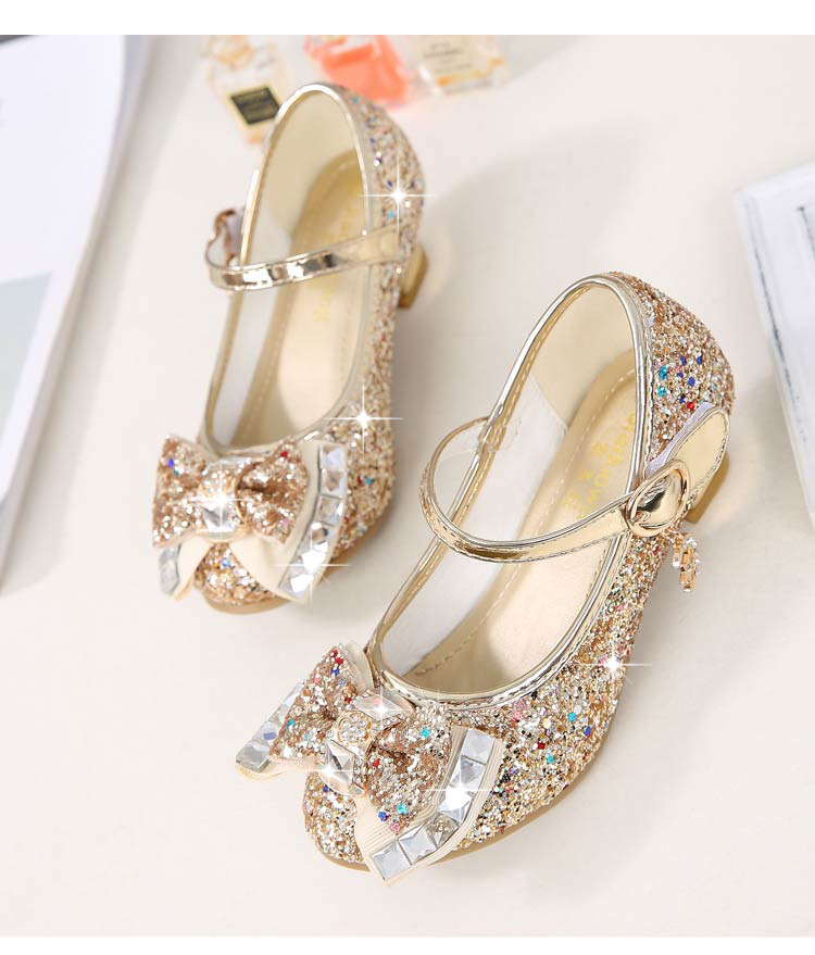 Image 5 - ULKNN Princess Kids Leather Shoes For Girls Flower Casual Glitter Children High Heel Girls Shoes Butterfly Knot Blue Pink Silver-in Leather Shoes from Mother & Kids
