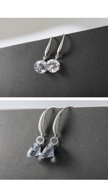 SALE 925 silver Europe Feather Crystal from Swarovski new fashion creative cz Woman Earrings love micro hot jewelry