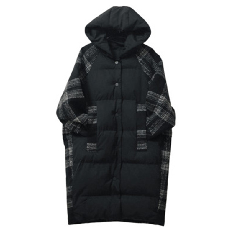 2019 Large Size Women Winter Cotton Hooded Jacket Coat Fashion Loose Warm Plaid Long   Parkas   Outerwear Casual Female Jacket XA48