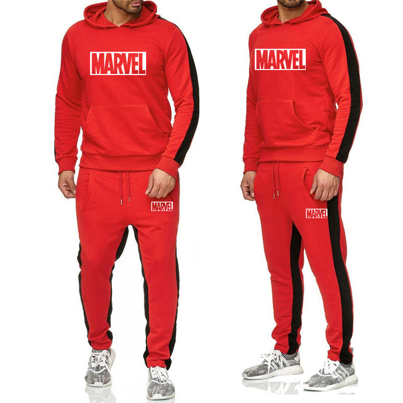 2PCS Autumn And Winter Brand Sweatshirts Men High Quality MARVEL Print Tracksuit Fashion Mens Hoodies+Pants Suits Casual Hoodie