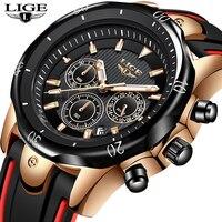 LIGE Men's Watches Stopwatch Date Luminous Hands Genuine Silicone 30M Waterproof Clock Man Quartz Watches Men Fashion Watch 2019