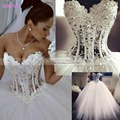 Hot Sale Sleeveless Floor Length Tulle Crystal A Line Wedding Dress Sweetheart Princess Wedding Dress Sexy Wedding Dress W319
