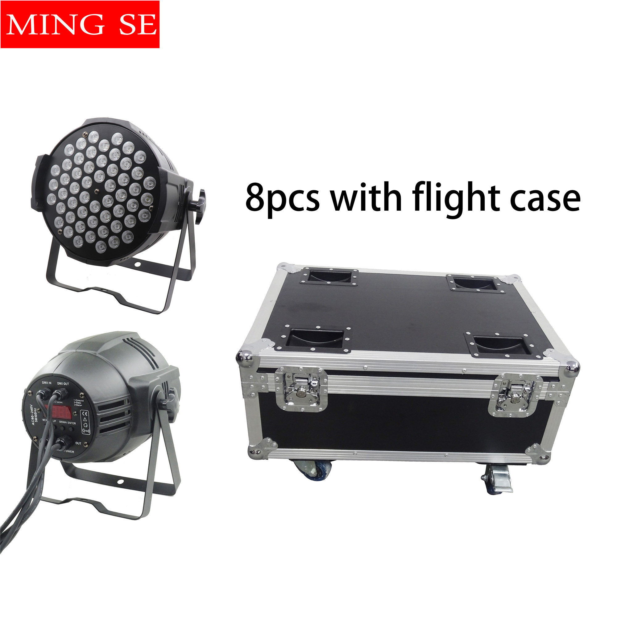 8pcs 54X3W RGBW LED Par Light  R12 G18 B18 W6 LED PAR DMX512 controller led lights, disco lights DJ equipment with flight case8pcs 54X3W RGBW LED Par Light  R12 G18 B18 W6 LED PAR DMX512 controller led lights, disco lights DJ equipment with flight case
