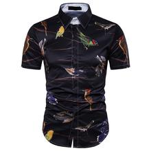 Slim fit Blouse Mens Clothes Hawaiian Shirt for Men Summer Bird 3D printing Short Sleeve