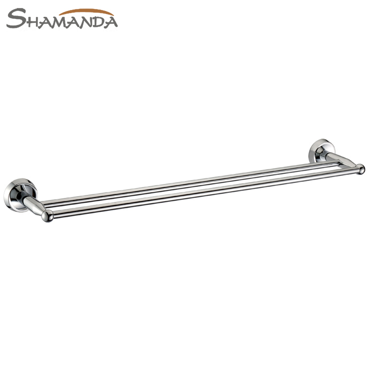 ФОТО Free Shipping Bathroom Product Solid Brass Chrome (60cm)Double Towel Bar,Towel Holder,Towel Rack,Bathroom accessories-50011