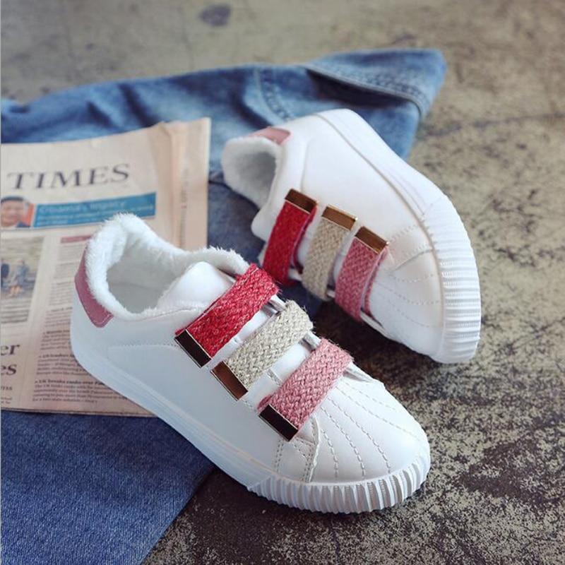 Plat 2019 Velours Chaud Plus Nouveau Petit blanc Épais Sauvage Blanc Confortable Femmes Rose Sh411 Chaussures D'hiver Sport De Mode 7rfrtqS