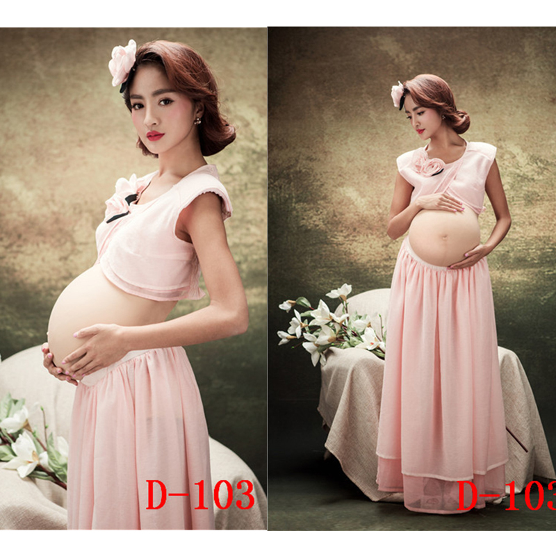 ФОТО New Maternity clothing for pregnant women Photography Props Chiffon Elegant Dress Pregnancy Pink set Fashion Free shipping