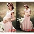 Novas roupas de Maternidade para mulheres grávidas Fotografia Adereços Chiffon Elegante Vestido Gravidez Rosa definir Moda Frete grátis