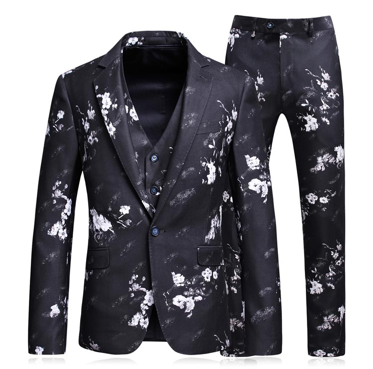 Sensfun Terno Tuxedo Man Suit Blazers Floral Three-Piece Jacket Pant Vest Casual Business Formal Costume Homme Mariage Plus Size