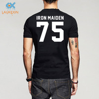 Iron Maiden T Shirt Heavy Metal Rock Iron Maiden 75 Letter Printed Hight Quality Casuals Cotton