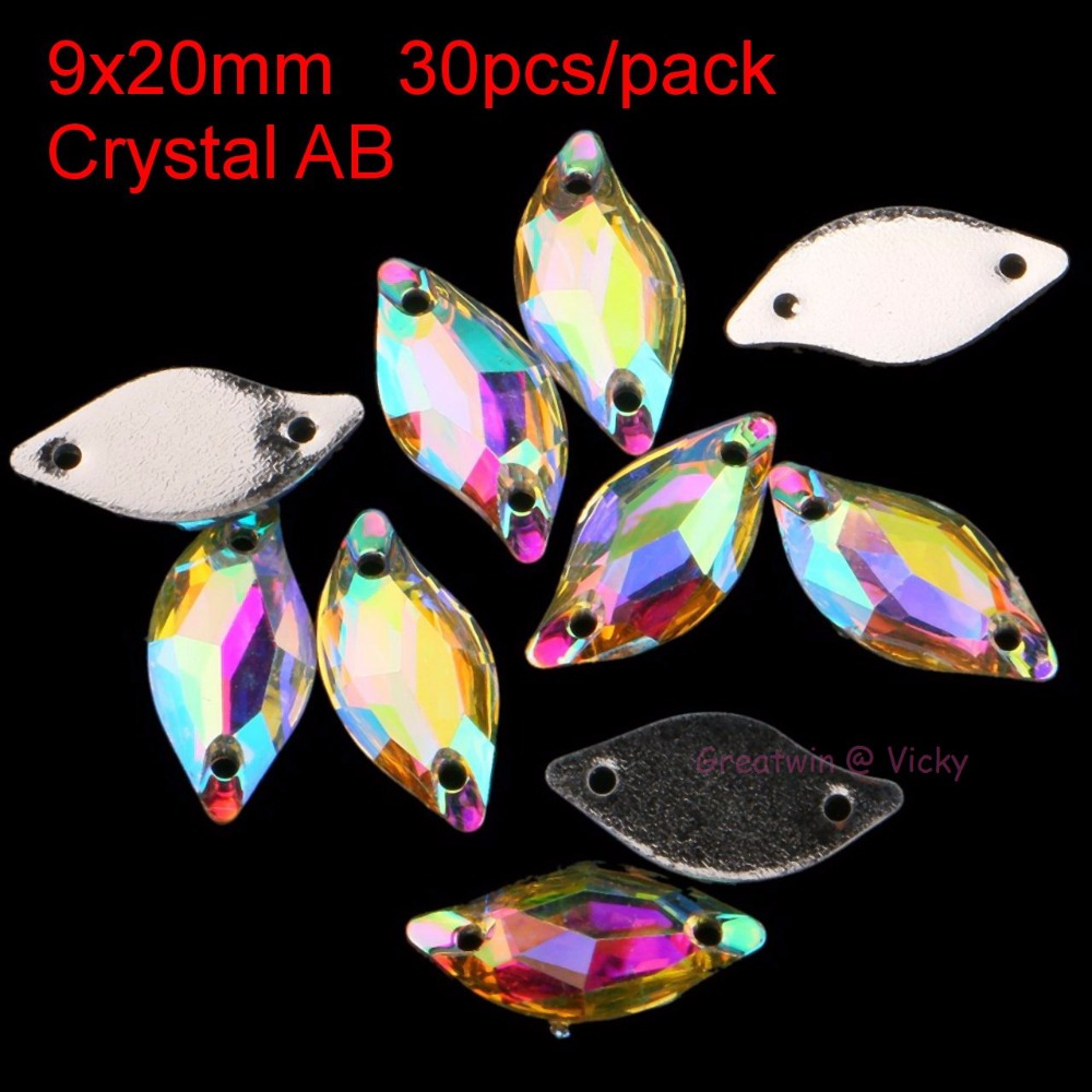 30st / pack 9x20mm Flat Back Sew On Rhinestone Gun Svart Leaf Sying På Kristaller Clear Two Holes Pärlor Stones Resin