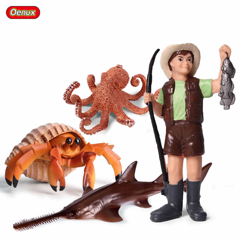Oenux Sea Life Animals Simulation Boy fishing Action Figures Hermit Crab Octopus Sawfish Model Figurines Education Toys Kid Gift