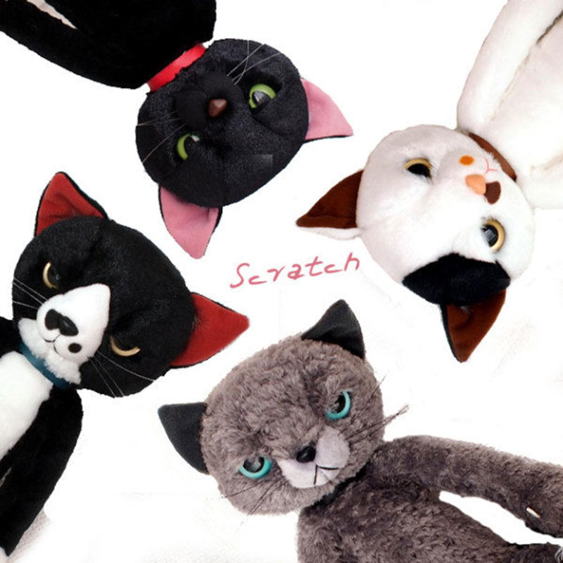 40CM Stuffed Cats Plush Toys Japan Scratch Kitten Peluche Sharp Paw Neko Soft Toy Children Kids Novel Gifts Платье