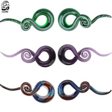 1 Pair  5-12mm Pyrex Glass Ear Spiral Taper Gauge  Ear Plug Stretching Expander Piercing