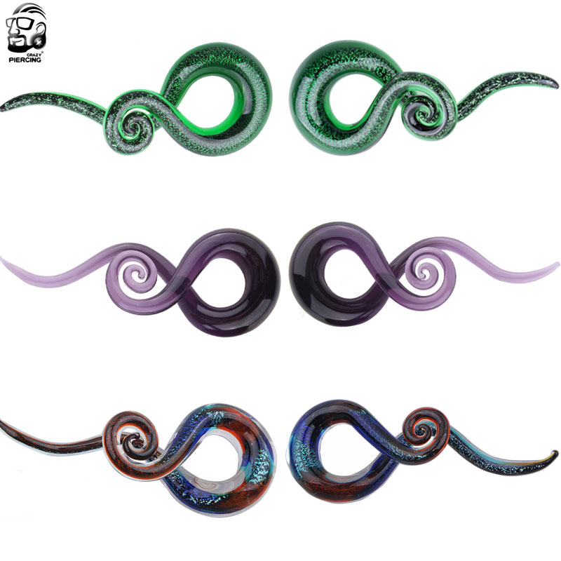 1 Pair  5-12mm Pyrex Glass Ear Spiral Taper Gauge 5-12mm Ear Plug Stretching Expander Piercing Glass Gauge Body Jewelry Pircing